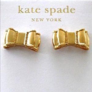 Kate Spade Gold Bow Milgrain Edge Stud Earrings
